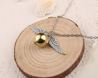 Harry Potter Golden Snitch Necklace Hogwarts Handmade Jewelry