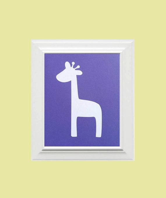 Custom Personalized Giraffe/Animal Picture, Children's Wall Art, Kid's Wall Art, Nursery Wall Art, Giraffe Wall Art-Light Purple, White