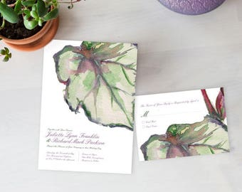 Begonia Wedding Invitation, Watercolor Wedding Invitation, Woodsy Rustic Invitation, Garden wedding invitation, Potted plant wedding invite