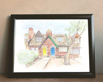 Custom Hand-Painted Home Portrait, Original Watercolor Illustration, Personalized House Painting, Housewarming Gift, Realtor Closing Gift