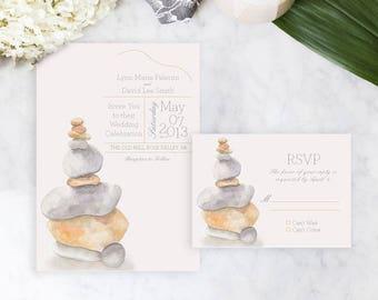 Rock Sculptures Wedding Invitation, Watercolor Wedding Invitation, Watercolor Invitation, Yoga wedding invitation, Zen wedding invitation