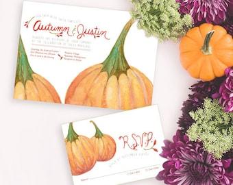 Pumpkin Wedding Invitation, Watercolor Wedding Invitation, Woodsy Rustic Wedding, Fall Wedding invitation, Autumn Wedding Invitation
