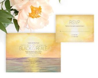 Sunset Over Water Wedding Invitation, Watercolor Wedding Invitation, Watercolor Invitation, Beach Wedding invitation, Summer wedding invite