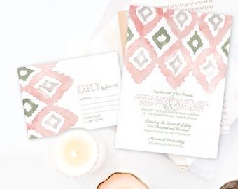 Ikat Wedding Invitation, Watercolor Wedding Invitation, Watercolor Invitation, Modern wedding invitation, Blush wedding invitation