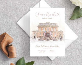 Wedding Save the Date, Wedding Venue Save the Date, Custom Watercolor Save the Date, Bespoke Wedding Invitations, Hand-Painted Weddings