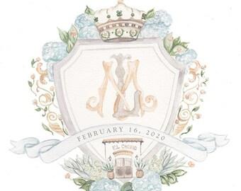 Custom Crest Watercolor Wedding Invitation, Custom Painted Wedding Monogram Logo