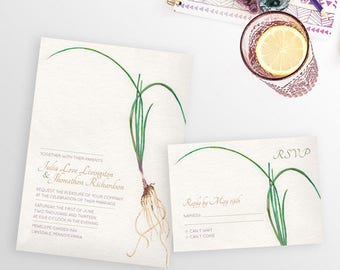 Roots Wedding Invitation, Watercolor Wedding Invitation, Watercolor Invitation, Garden Wedding invitation, Backyard wedding invitation