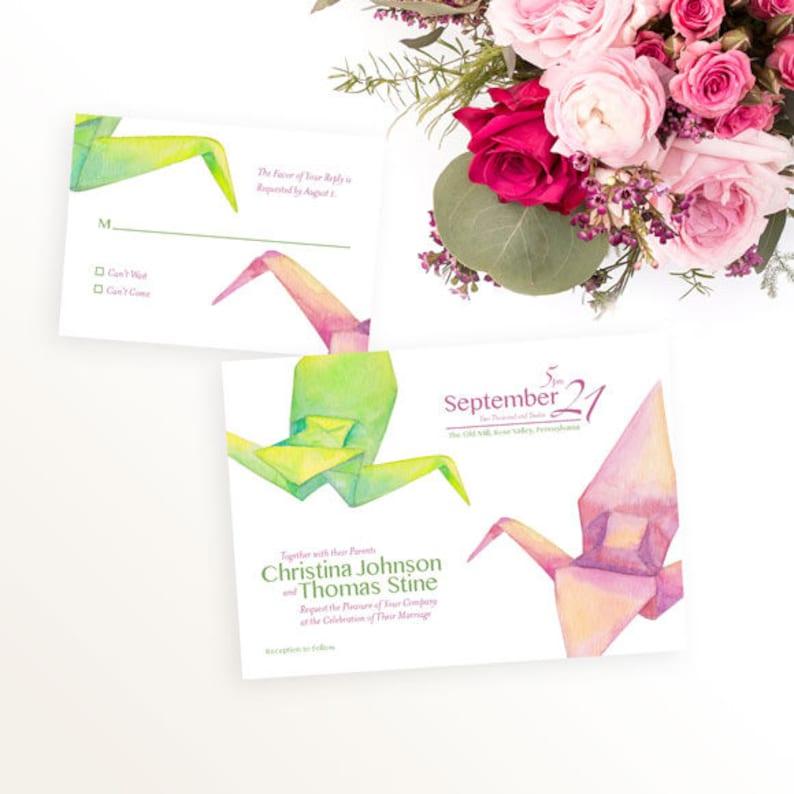 Origami Crane Wedding Invitation Watercolor Wedding Etsy
