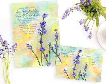 Lavender Wedding Invitation, Watercolor Wedding Invitation, Woodsy Rustic Invitation, Floral Wedding Invitation, Lavender fields wedding