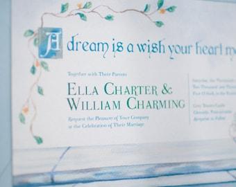 Cinderella Wedding Invitation, Watercolor Wedding Invitation, Watercolor Invitation, Fairytale wedding invitation, Disney wedding invitation