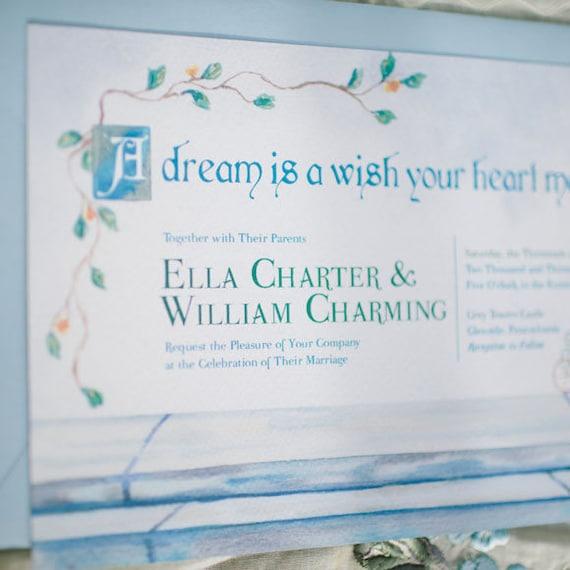 Cinderella Wedding Invitation Watercolor Wedding Invitation Etsy
