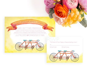 Tandem Bike Wedding Invitation, Watercolor Wedding Invitation, Watercolor Invitation, Bicycle wedding invitation, Joyful wedding invitation