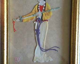 Two vintage chinese female figures cut outs