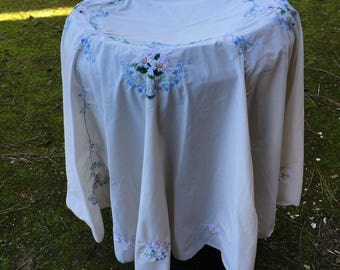 Embroidered round tablecloth