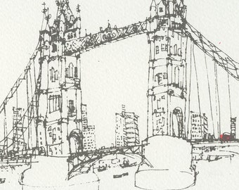 LONDON SCREEN PRINT, Tower Bridge Art, Handmade Original Art, Hand Pulled 2 Colour, London Red Bus, Grey Line Drawing, Mounted Signed Print