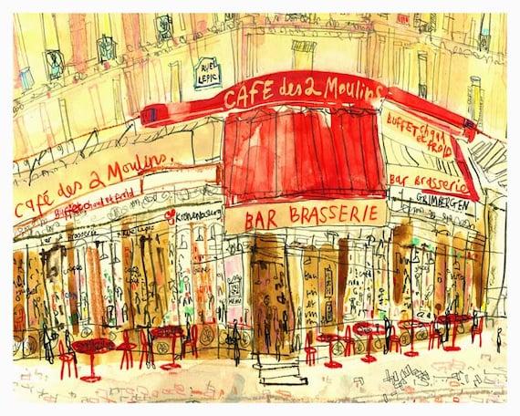 Amélie Café Paris Wall Art FRENCH PRINT 8 x 10 Parisian | Etsy