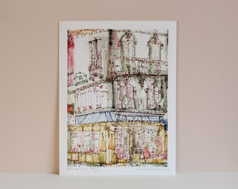 PARIS CAFE ART, Parisian Print, Signed Limited Edition Giclee, Paris Watercolor Painting, French Cafe Wall Art, Metro Sign, Clare Caulfield