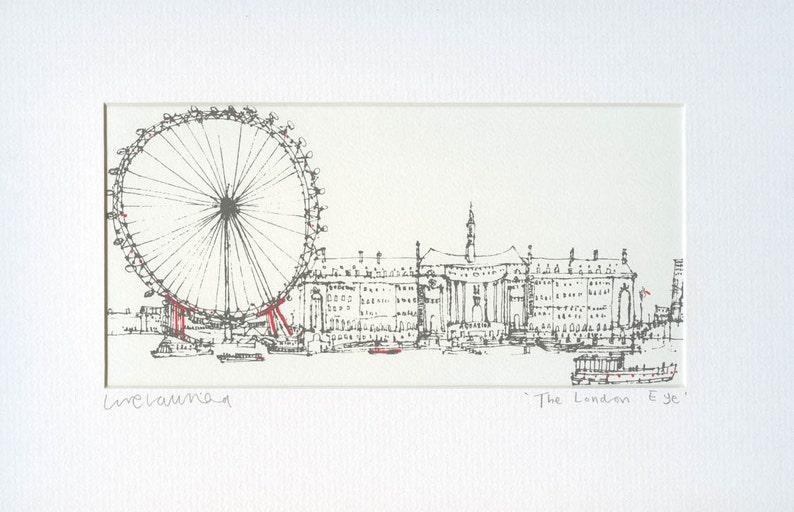 The London Eye, London City Print, Original ScreenPrint, London Wall Art,  Signed Hand Pulled, 2 Colors Red & Grey, London City Decor