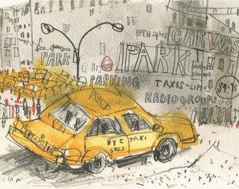 NEW YORK Taxi Park, NYC Watercolour, New York Wall Art, Ny Taxi Signed Art Print, Manhattan City Painting, Clare Caulfield