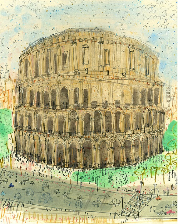 ROME COLOSSEUM Italy Art Print Rome Wall Art 8 x 10 inch
