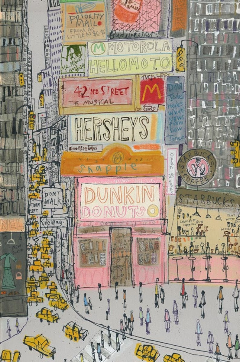photograph relating to Dunkin Donuts Printable Application referred to as Days Sq. Artwork Contemporary York Town Print, Dunkin Donuts Nyc, Manhattan Portray Fresh York Skyser, Signed Restricted Variation, Put together Media