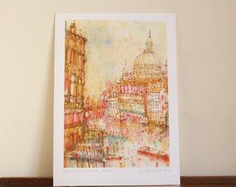 VENICE SUNSET PRINT,  Italy Watercolor, Grand Canal Wall Art, Venetian Wall Art, Signed Giclée Print, Mixed Media Painting, Clare Caulfield