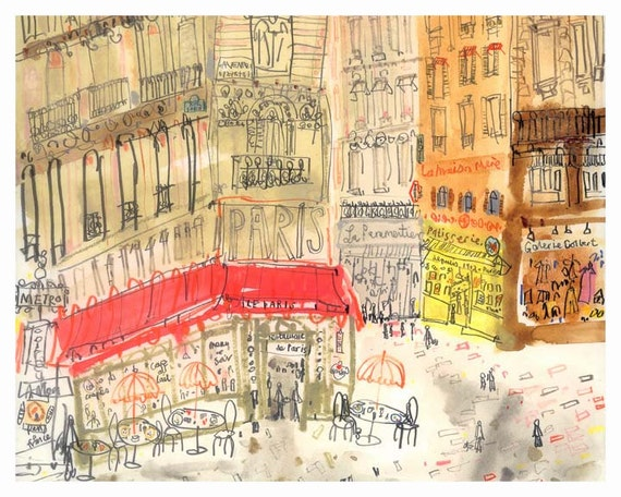 PARIS Cafe PRINT French Illustration Cafe Wall Art 8 x 10