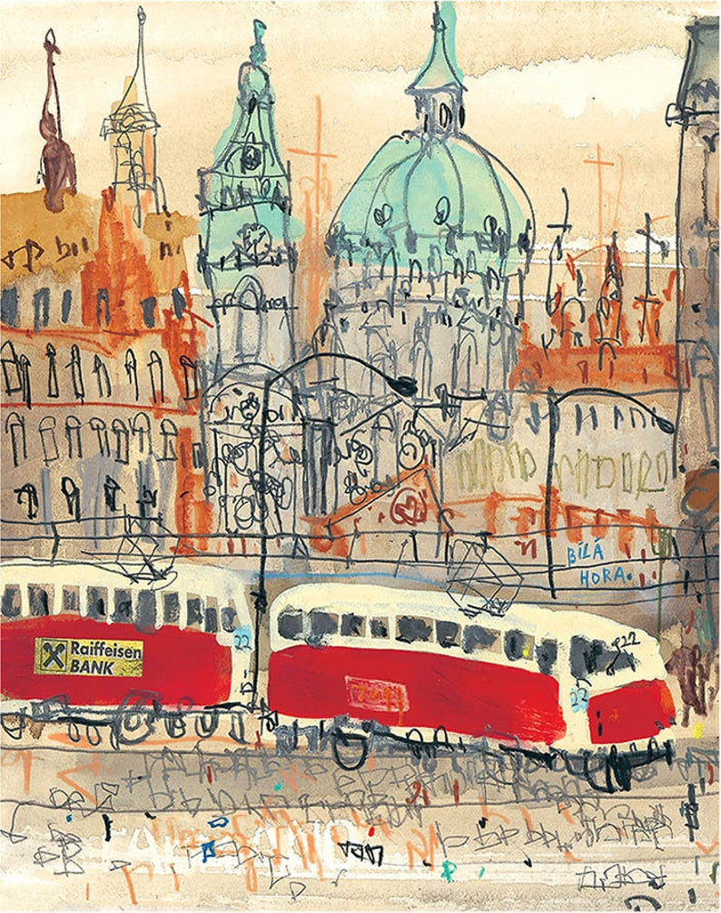 Prague Art Print Czech Republic Painting 8x10 Prague Tram Etsy