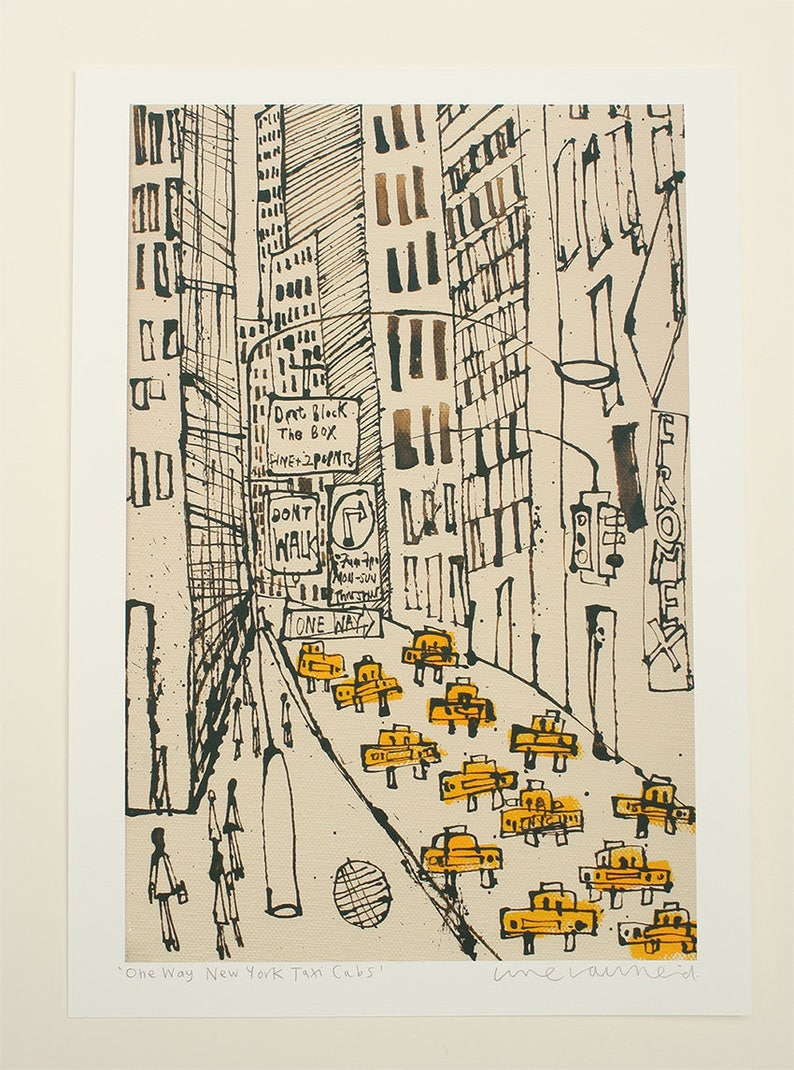 image about Nyc Walking Map Printable named Fresh York Town Cab Drawing, Signed Artwork Print, Clean York Portray, Manhattan Highway, Dont Stroll, A person Direction, NYC Signal, Skysers Clare Caulfield