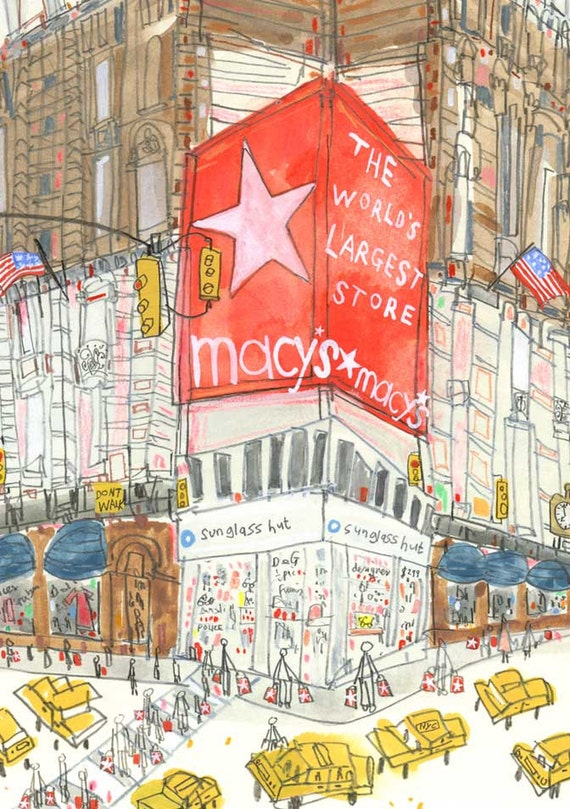 macys new york art print new york city taxi signed print nyc etsy
