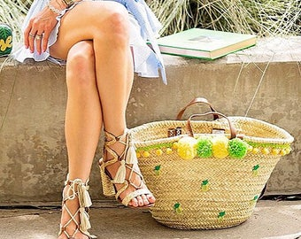 Resort Collection  Honolulu pineapple Hand-woven straw tote Beach Tote Bag 4b4121c7ae2f