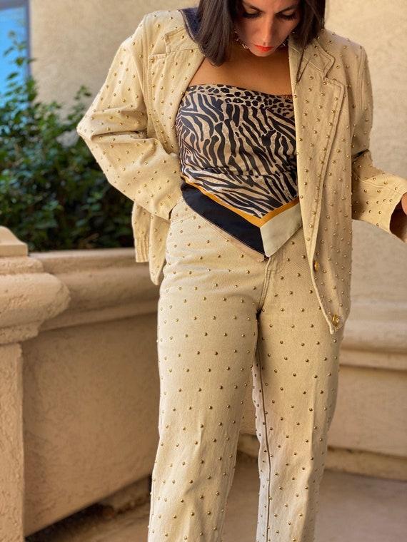 Hey The Stud - 80'S Cream Denim Gold Studded Jacke