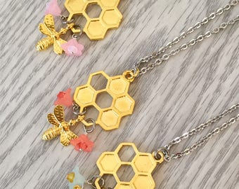 Spring Bee Necklace; Honeycomb Necklace; Spring Necklace; Floral Necklace; Spring accessory