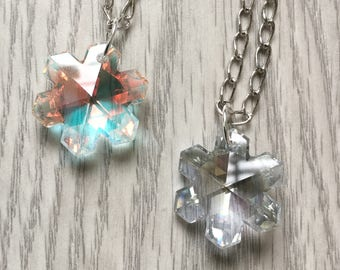 Snowflake Necklace; Crystal Nacklace; Winter Necklace
