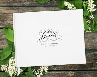 Our Guests Horizontal Wedding Guest Book with Blank Pages; Personalized, Script