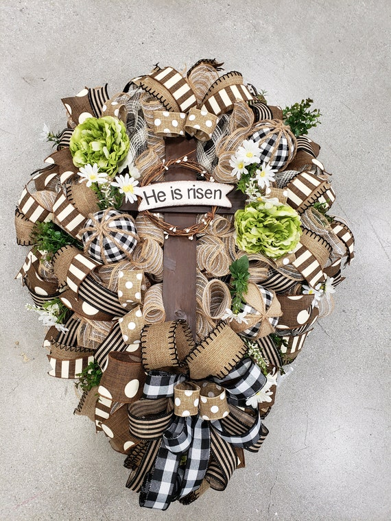 Cross Wreath Burlap Wreath Easter Deco Mesh Wreath Burlap Coss Wreath Everyday Wreath Easter Wreath Deco Mesh Wreath