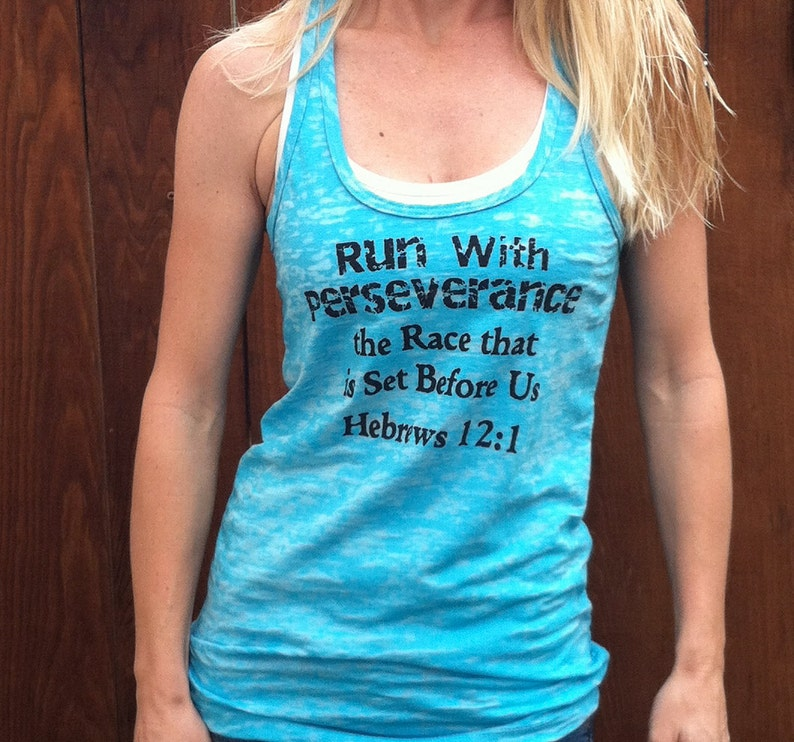 438f017ac Run With Perseverance Hebrews 12:1 Fitness Tank Top | Etsy