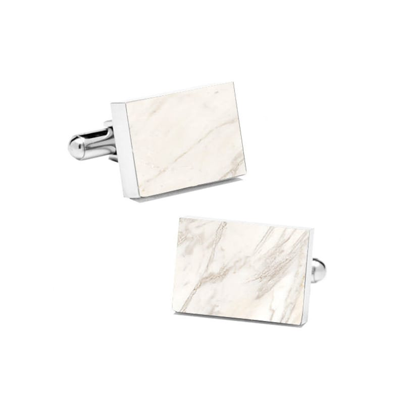 Real Marble Cuff Links Stone Cufflinks Groomsmen Gift Cuff Links for Men with Style Groom Cufflinks Cuff Links for Groom White Marble