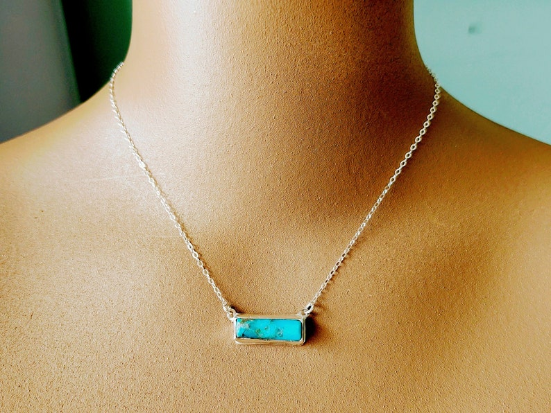 Fun cool and dainty for her Handmade statement bar necklace 925 Sterling Silver Dainty Minimalist Necklace Turquoise Bar Necklace Choker
