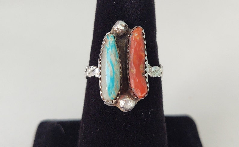 Turquoise Coral Ring Designer Inspired Inlay Ring Natural Red Coral and Turquoise Handmade Ring Cool Western Ring Sterling Silver Gifts
