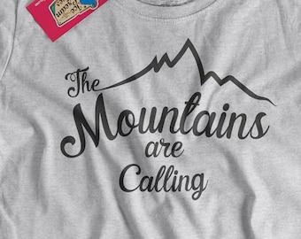 Camping T-Shirt The Mountains Are Calling T-shirt Climbing Hiking Outdoor t-Shirt Screen Printed tee Shirt Mens Ladies Womens Youth Kids
