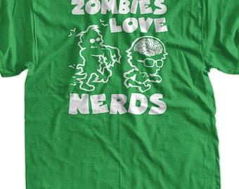 93f4a4d8b Funny T-Shirt - Zombies Love Nerds :( Screen Printed T-Shirt Geek outbreak  kill rock School