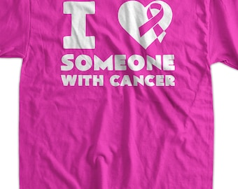 Cancer support t Shirt - breast cancer I heart someone with cancer support White Ink Gift Walkathon Event Awareness Mens Ladies Womens Yout