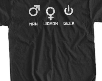 Computer Geek T-Shirt Funny Nerd Man Woman Geek T-Shirt Gifts for Dad Screen Printed T-Shirt Tee Shirt T Shirt Mens Ladies Womens