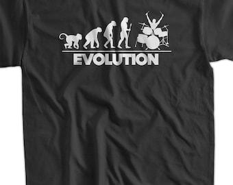 Evolution Of The Drummer T-Shirt Drummer T-Shirt Drums Drumming Band T-Shirt Screen Printed T-Shirt Tee Shirt T Shirt Mens Ladies Womens
