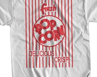 Funny Pop Corn T-shirt Fresh Pop Corn T-shirt Movies Movie Theater Screen Printed T-Shirt Tee Shirt Mens Ladies Womens Youth Kids