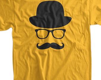 Fancy Moustache Glasses Top Hat Hipster Mustache Hat Wayfarer Tshirt T-Shirt Tee Shirt Mens Womens Ladies Youth Kids Geek Funny