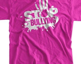Anti Bullying Stop Bullying T-Shirt  school pink shirt day Tshirt - Screen Printed T-Shirt Tee Shirt T Shirt Mens Youth Kids Funny Geek