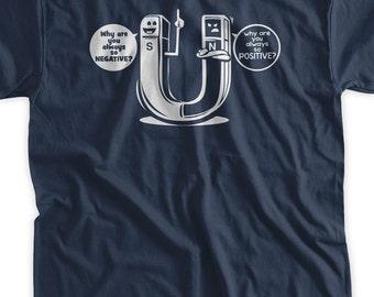 Funny Science Tshirt Chemistry Tshirt Geek Nerd School Positive Negative Magnet T-shirt  Tshirt Mens Ladies Womens Youth Kids