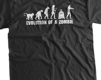Evolution Of A Zombie T-Shirt Zombies Zombie Movies Gifts for Guys Gifts for Dad Screen Printed T-Shirt Tee Shirt T Shirt Mens Ladies Women